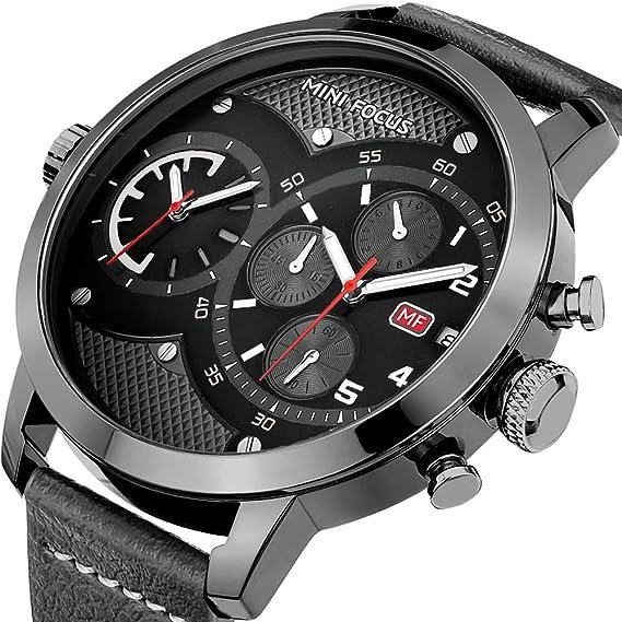 HVDHYY Reloj para Hombre Doble Zona Horaria Reloj Deportivo de Moda  Cronógrafo Reloj de Cuarzo Impermeable para Hombre  Amazon.es  Relojes 1004a96e0ab7