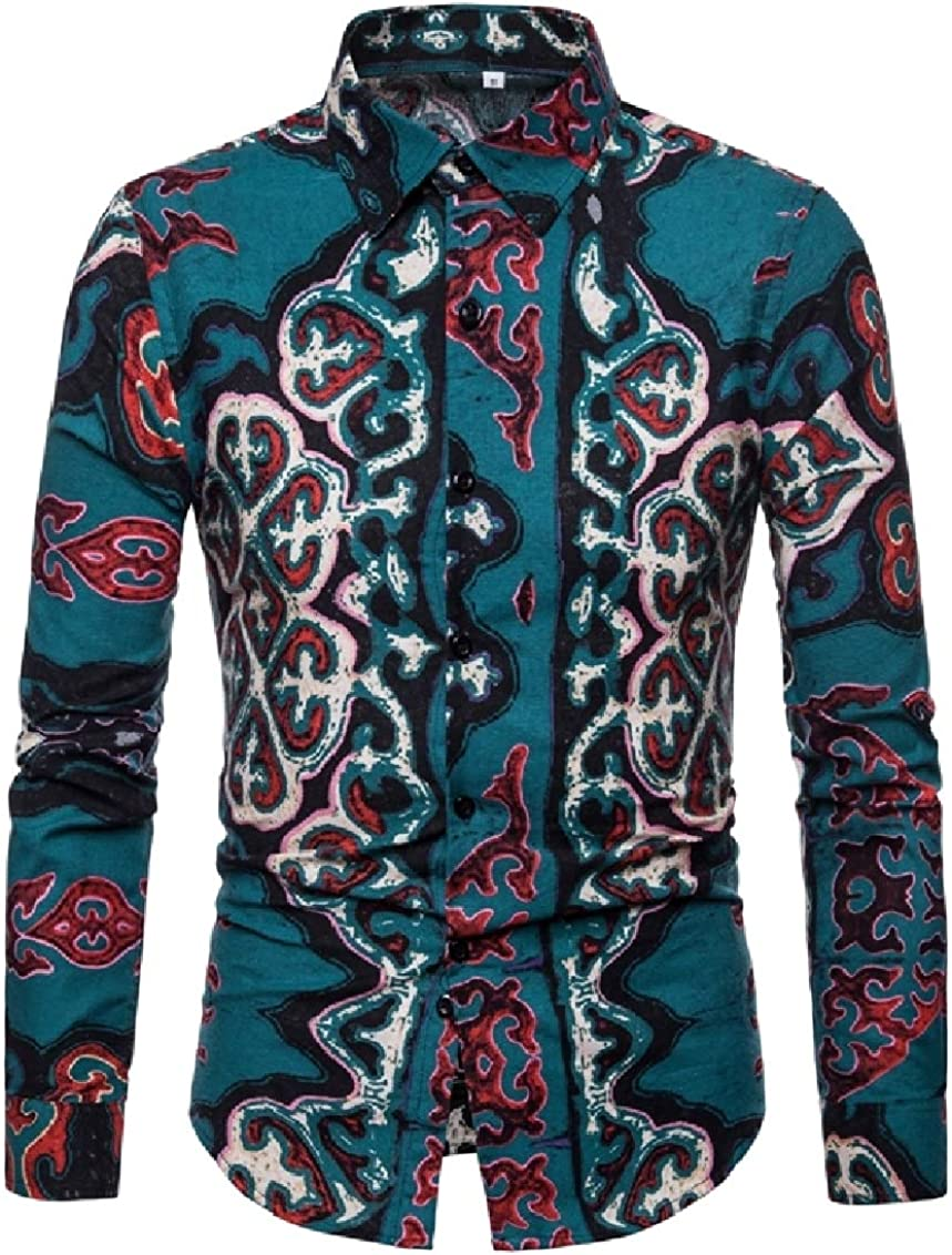 Freely Mens Oversize Folk Style Colortone Patterned Work Shirt