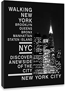 Black and White New York City Wall Art for Bedroom Office Home Decor New York City Skyline Wall Decor NYC Canvas Print Framed Modern Artwork
