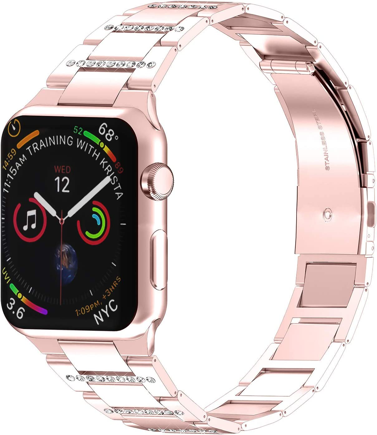 PUGO TOP Bands Compatible with apple watch 38mm 40mm Series 6 5 4 3 2 1 SE Iwatch Link Iphone Watch Bracelet Band Ultra Thin Stainless Steel with Bling Rhinestones (38mm/40mm, Rose Gold)