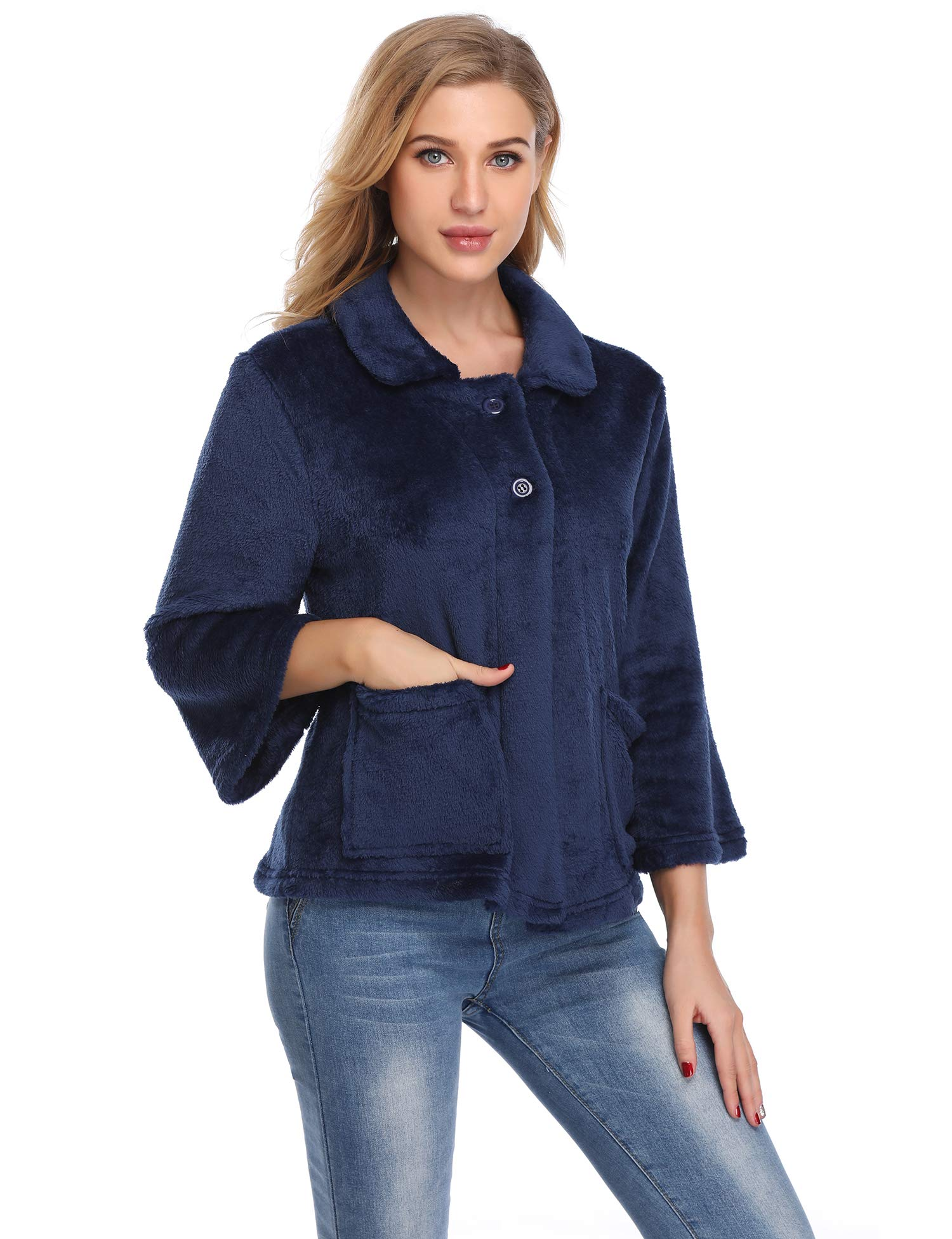 Lusofie Bed Jacket for Women Button Front Bed Coat Peter Pan-Collar Sleep Top (Navy Blue,XL)