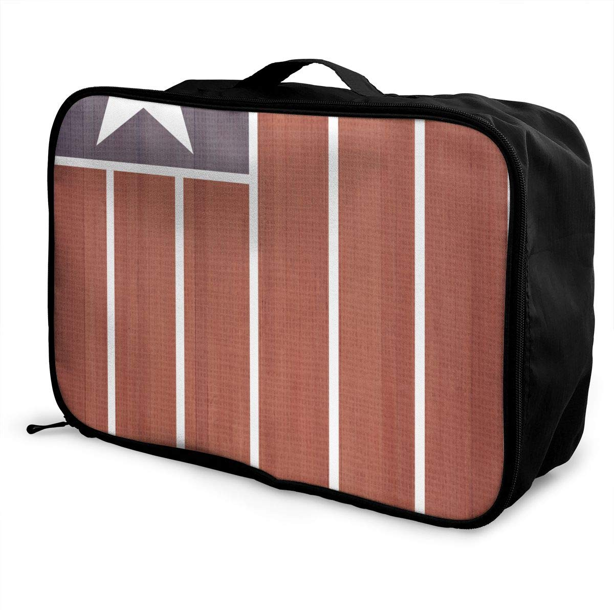 ADGAI Pentagram Vertical Stripes Canvas Travel Weekender Bag,Fashion Custom Lightweight Large Capacity Portable Luggage Bag,Suitcase Trolley Bag
