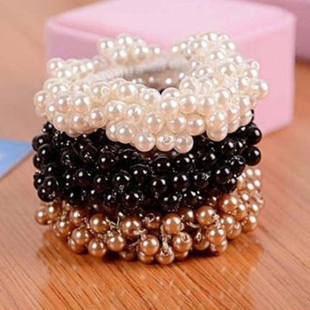 3pcs Women's Girls Faux Pearl Beads Hair Band Rope Scrunchie Ponytail Holder (Black/Khaki/White) Bodhi2000