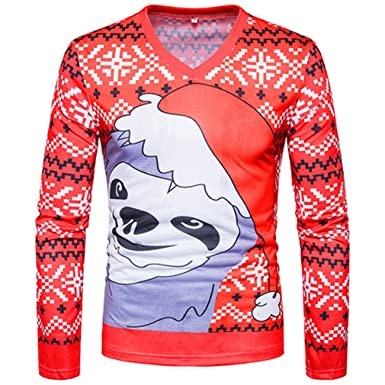 Bonxddy Abstract Cartoon Christmas Print Men T Shirt Fashion Casual Slim Fit V Neck Men T