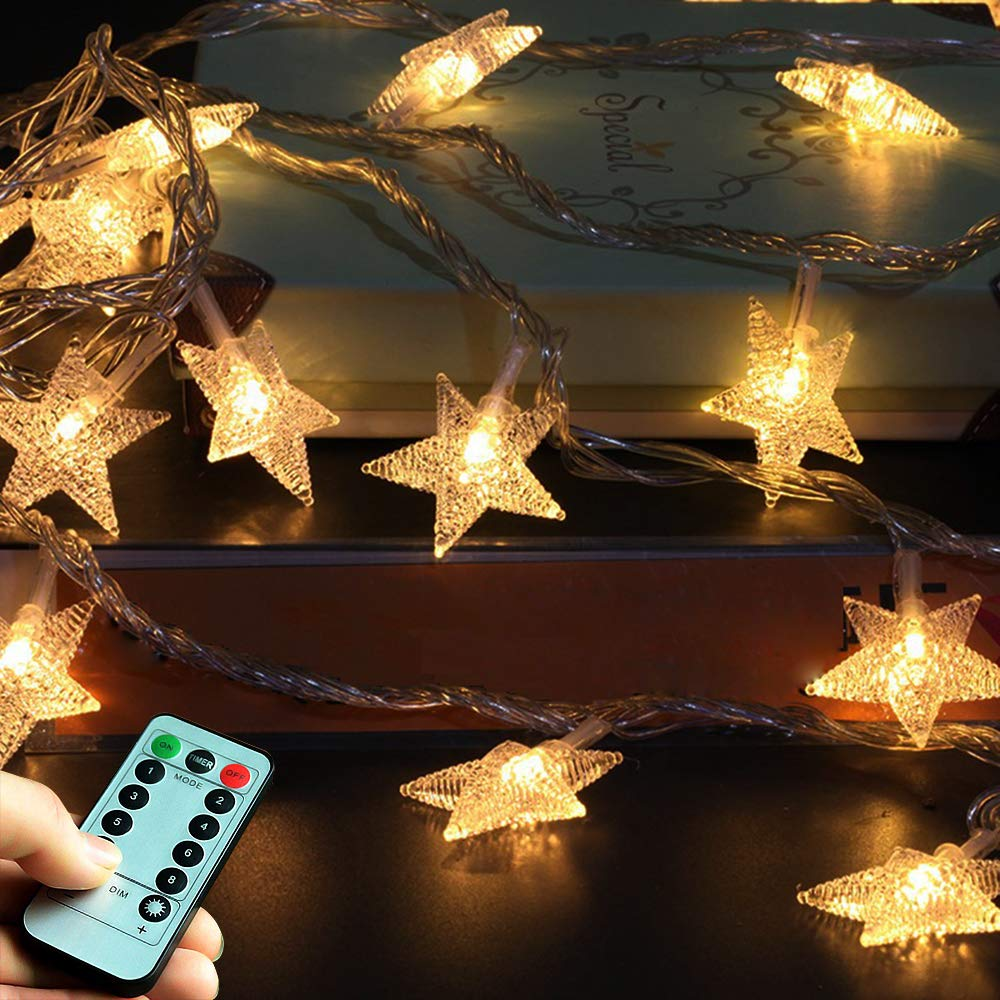 Christmas Decoration Star String Lights 50LED 17ft. 8 Modes Battery Operated Abell Twinkle Lights Warm White Fairy String Lights for Outdoor, Indoor, Bedroom, Garden, Party, Birthday, Wedding Yushiji