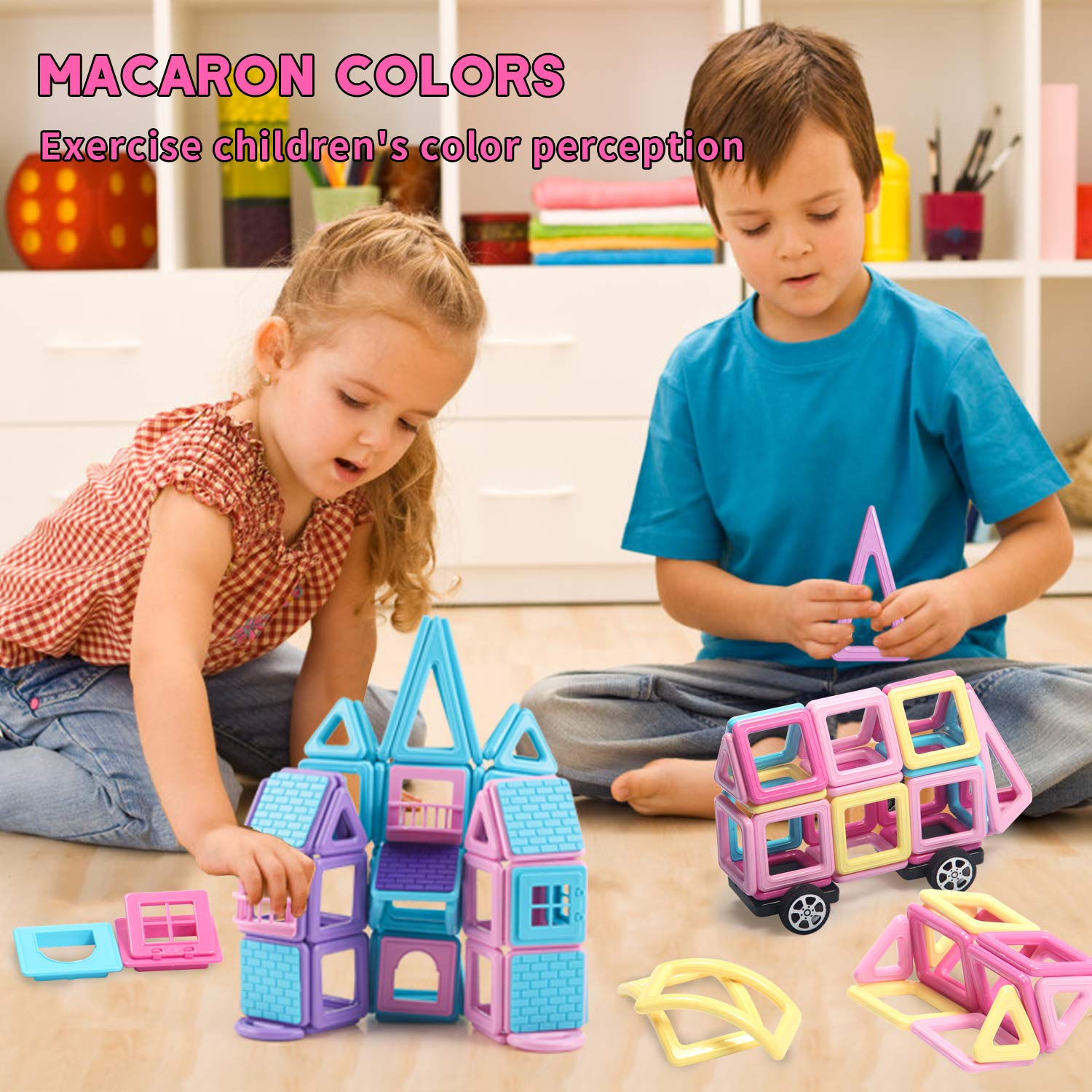 HOMOFY 124PCS Castle Magnetic Blocks Toys for Kids -3D Macaron Colors Learning & Development Building Blocks Figure Kits Toys for 3+ Years Old Girls Boys Toddlers by HOMOFY (Image #3)