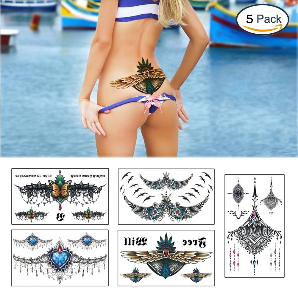 Large Tattoos Fake Temporary Jewelry Body Tattoos Art Stickers for Women Men Teens, VIWIEU 3D Realistic Girls Chest Temporary Tattoos, 5 Sheets, Water Transfer Body Tattoos