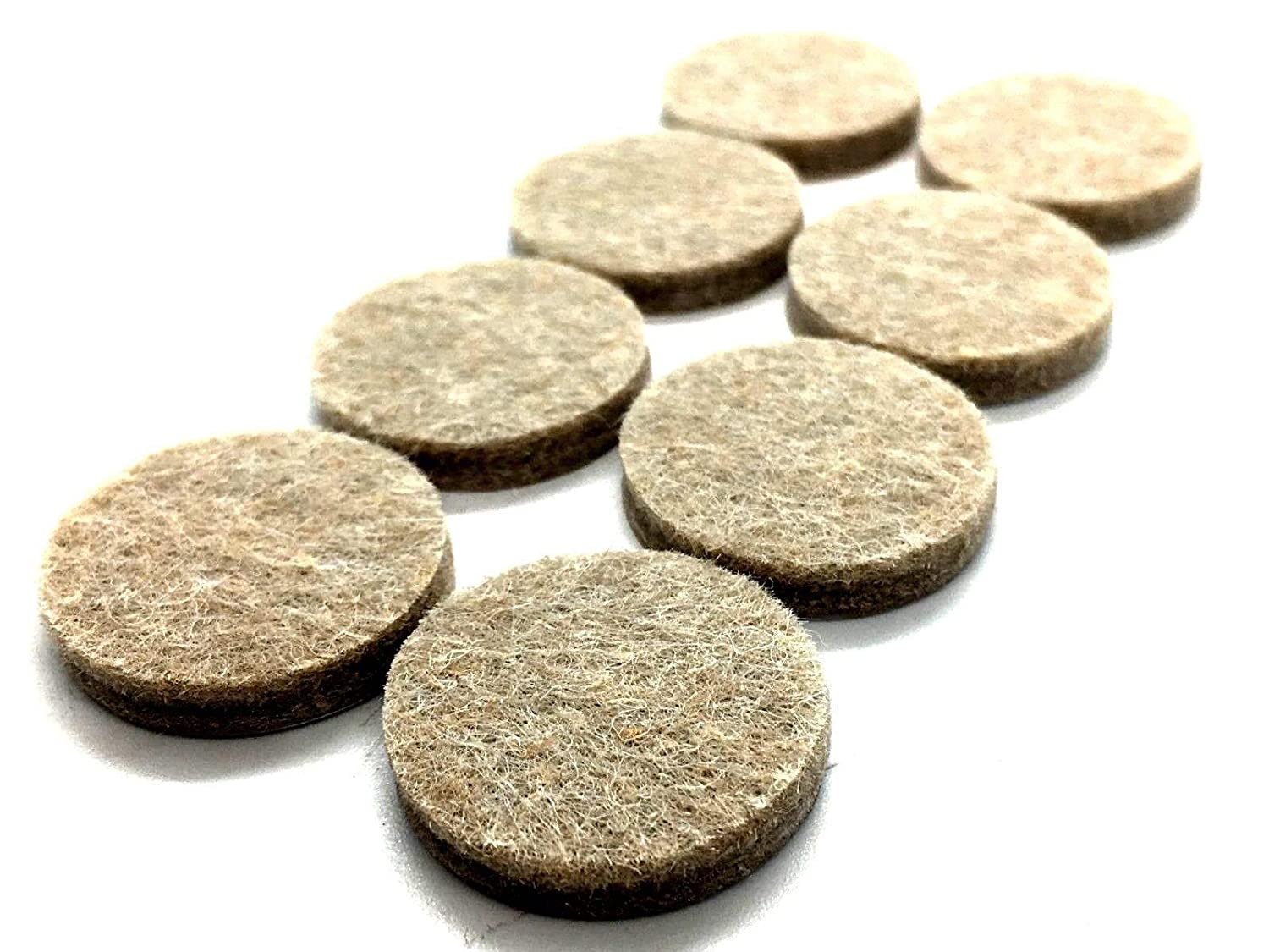 Swish Pack of 8 self adhesive Felt pads 25mm round furniture extra sticky protectors in beige.