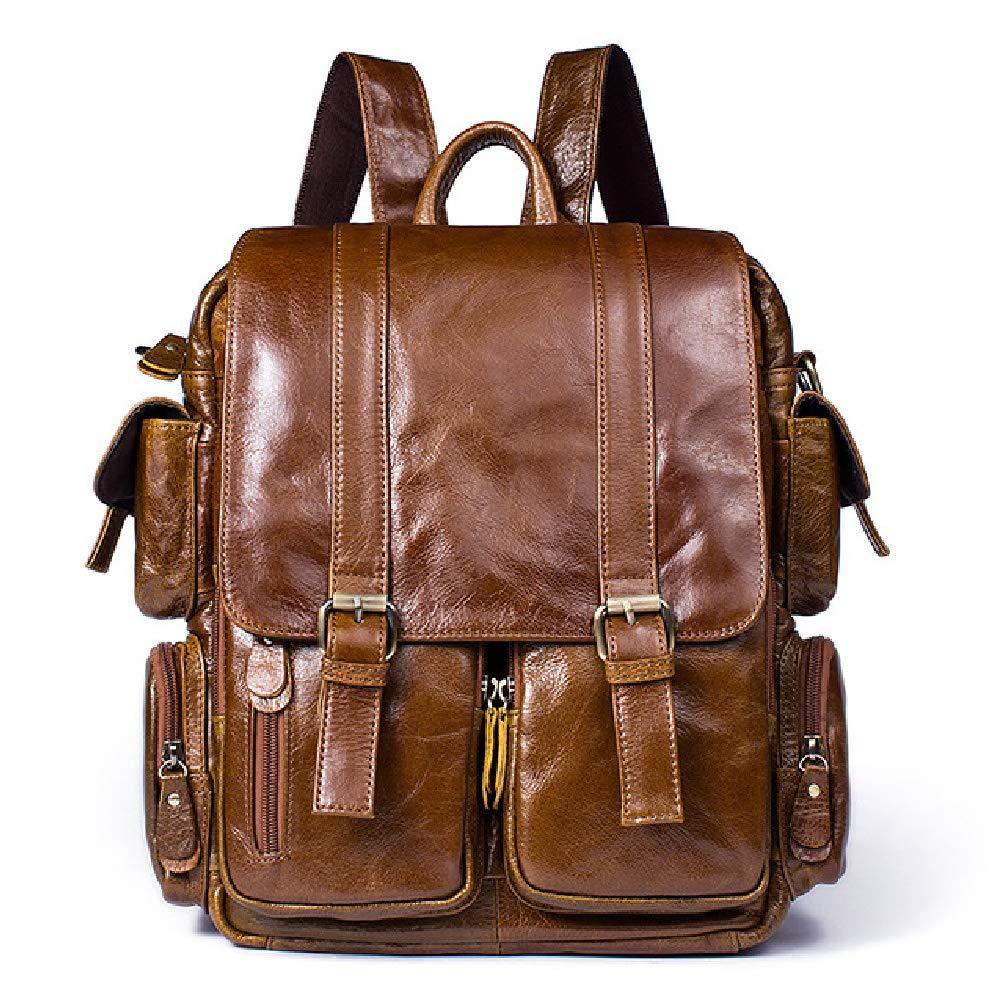 メンズ本革手作り17インチラップトップバックパックリュックサックマルチポケット旅行スポーツバッグ-brown B07RB39LX9 brown