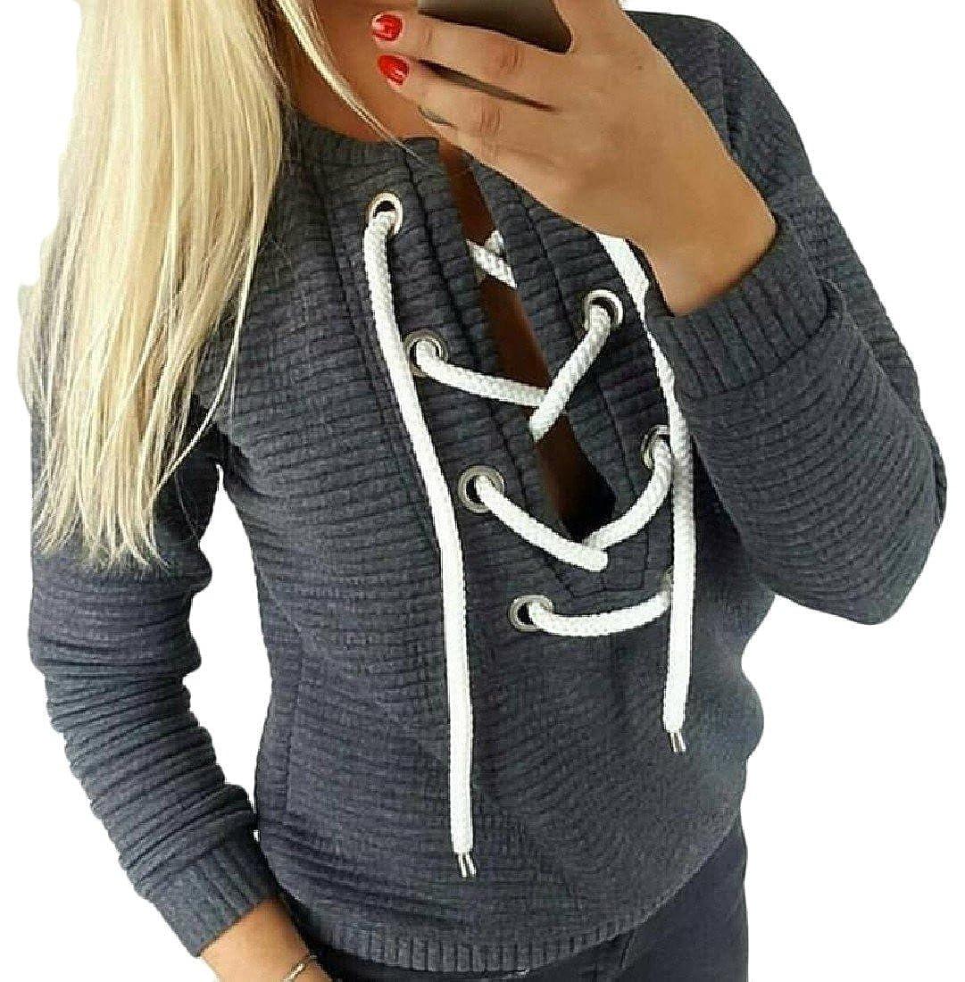 QueenHandsWomen QueenHands Womens Fleece Cross Straps Pure Color Stylish Sweatshirt Pullover