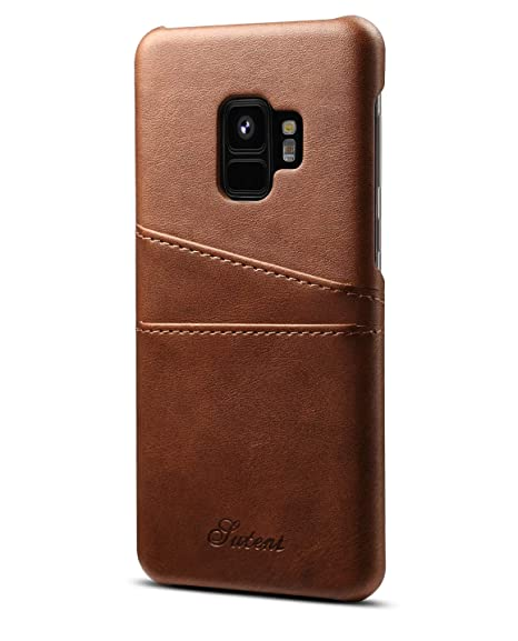 pretty nice bce63 c057e Samsung Galaxy S9 Case | S9 Plus Case| Wallet Phone Leather Slim Case with  Card Holder (Brown - S9+)