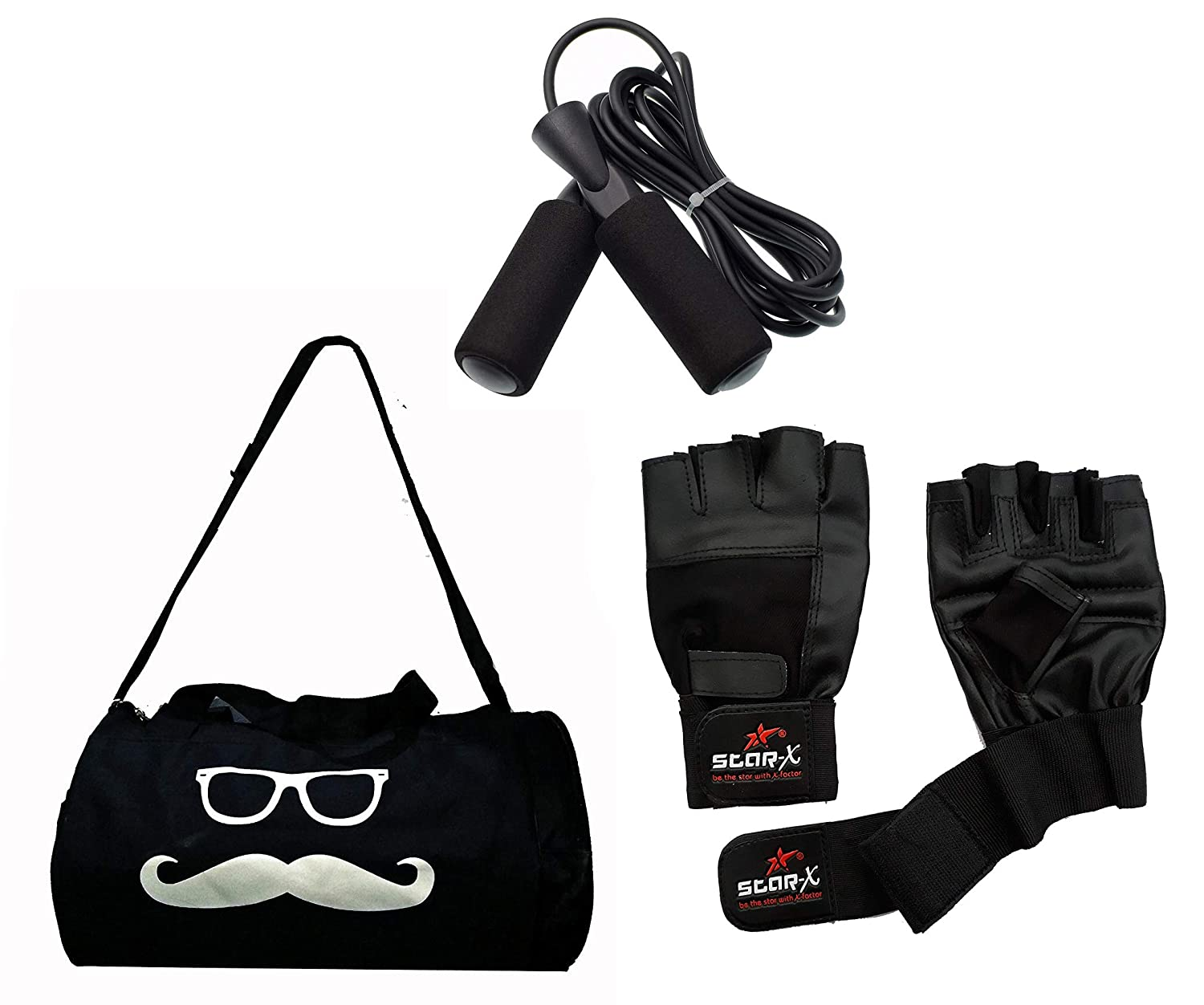 Combo StarX Gym kit Set of Bag with Gym Gloves and Skipping Rope