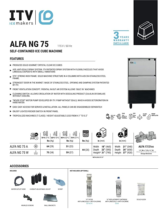 Amazon.com: Alfa NG 75 - Máquina para cubitos de hielo ...