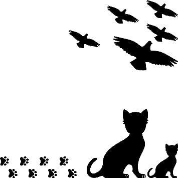 Set 15 Teile Vogel Vögel Katze Katzen Pfötchen Aufkleber Die Cut Tattoo Warnvögel Fenster Schutz Gegen Vogelschlag Deko Folie Schwarz