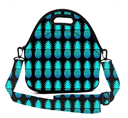 72894ee11b36 Amazon.com - Lunch Bag Tote - Cool Blue Pineapples Black - Insulated ...