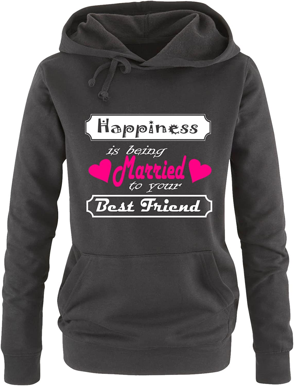 Print-Pulli K/ängurutasche Comedy Shirts Happiness is Being Married to Your Best Friend Langarm Damen Hoodie Kapuze