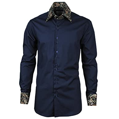 Angel Cola Paisley Collar and Cuffs Men's Designer Cotton Dress ...