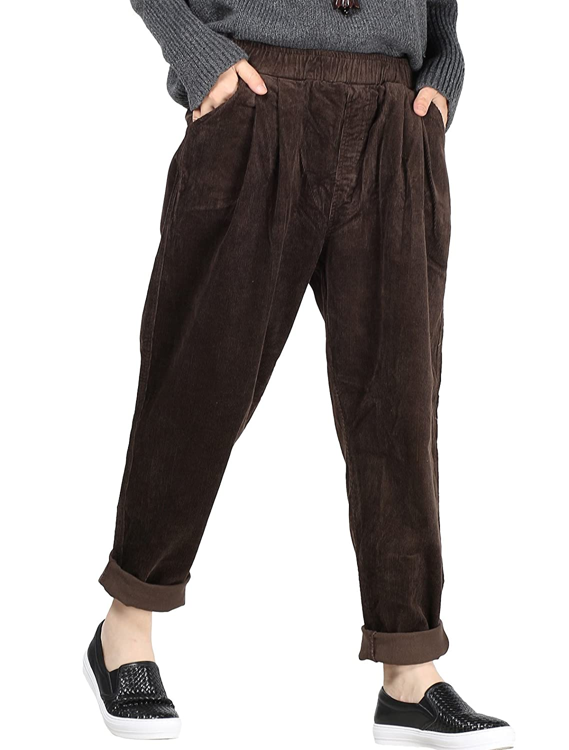 Mordenmiss Women's Fall/Winter Casual Corduroy Pants with Pockets