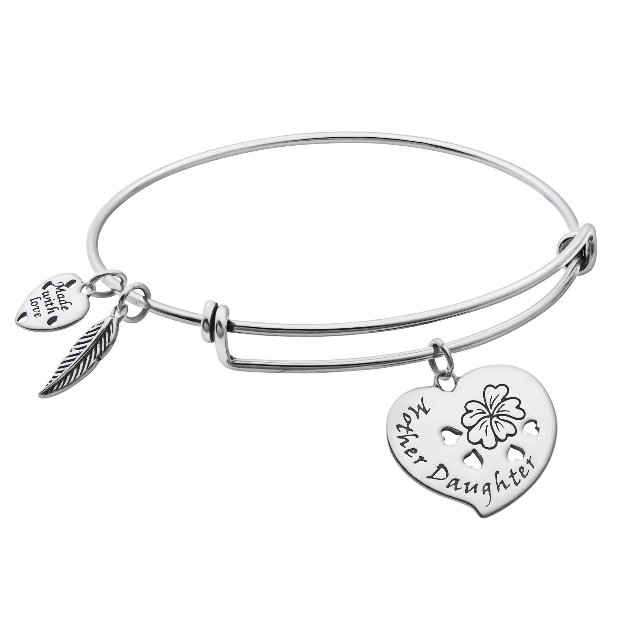 Sterling Silver Mother & Daughter Flower Heart Lots of Love Dangle Charm Adjustable Wire Bangle Bracelet
