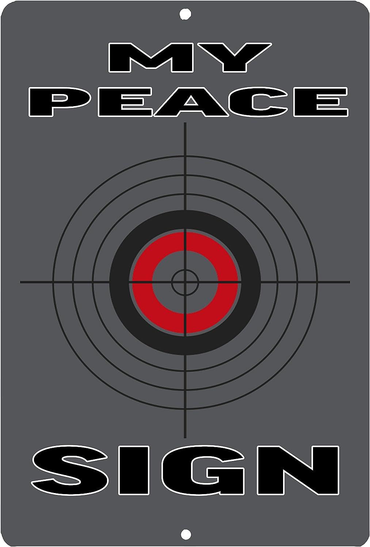 Rogue River Tactical Funny Pro 2nd Amendment Metal Tin Sign Wall Decor Man Cave Bar Gun Peace Sign Target