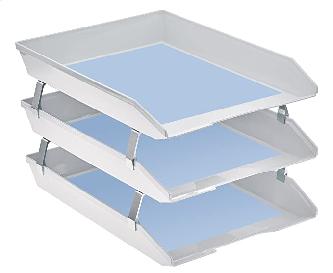 Amazon.com : Acrimet Facility 3 Tiers Triple Letter Tray Frontal (White Color) : Office Products