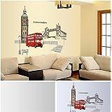 Anself Red London Double-decker Bus Wall Decal Wall Sticker Removable Sticker Creative Art Mural Decoration 60*90cm
