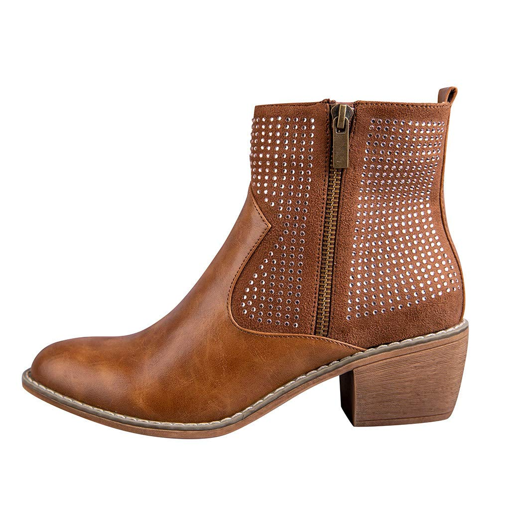ZOMUSAR Women's Boots, Women's Flats Round Toe High-Heeled Rivets Casual Shoes Non-Slip Ankle Booties Brown by ZOMUSAR