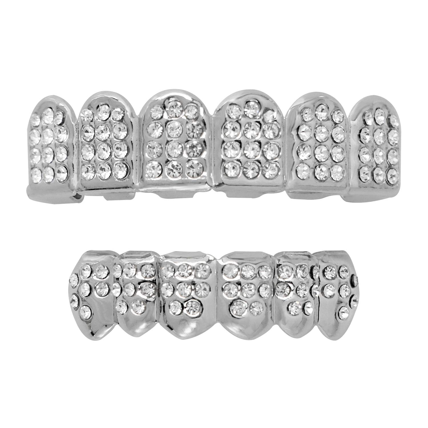 18K Silver Plated Grillz Caps Top & Bottom Set for New Custom Fit Hip Hop Style + 2 Extra Molding Bars by Careland