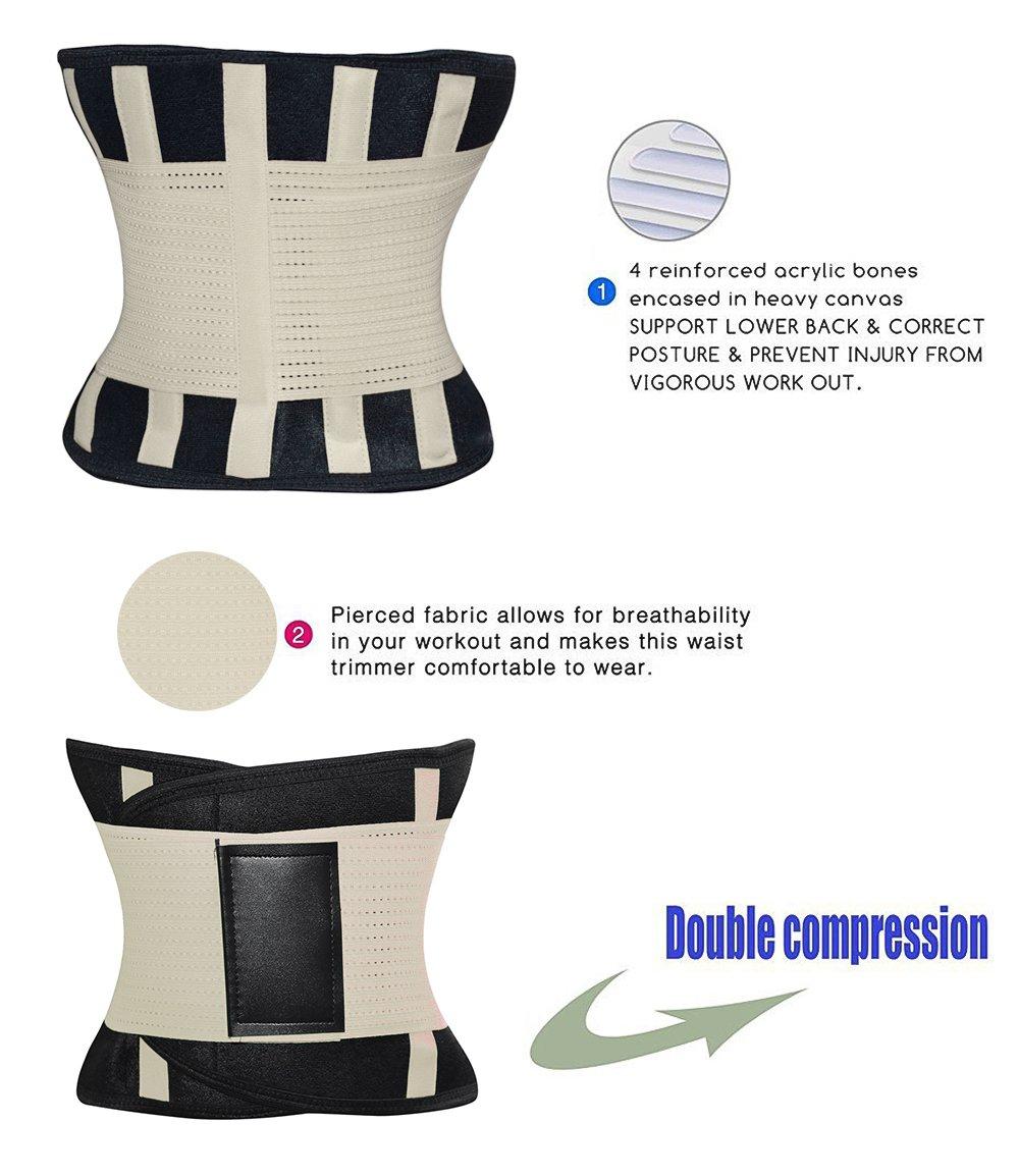 e398dd8d81 HURMES Waist Trainer Belt for Women - Waist Cincher Trimmer - Slimming Body  Shaper Belt - Premium Belly Fat Burner Wrap Abdominal Muscle Lumbar Support  ...