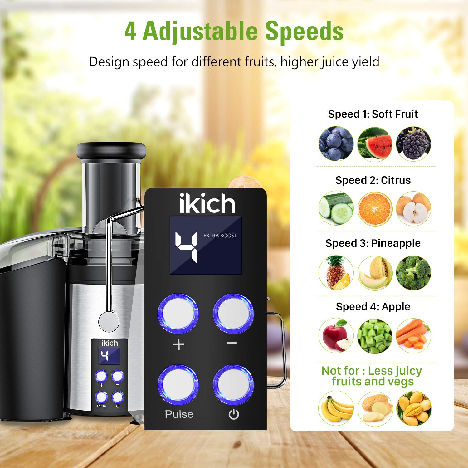 1199 RPM Centrifugal Juicer Creates More Juice and High Nutrient