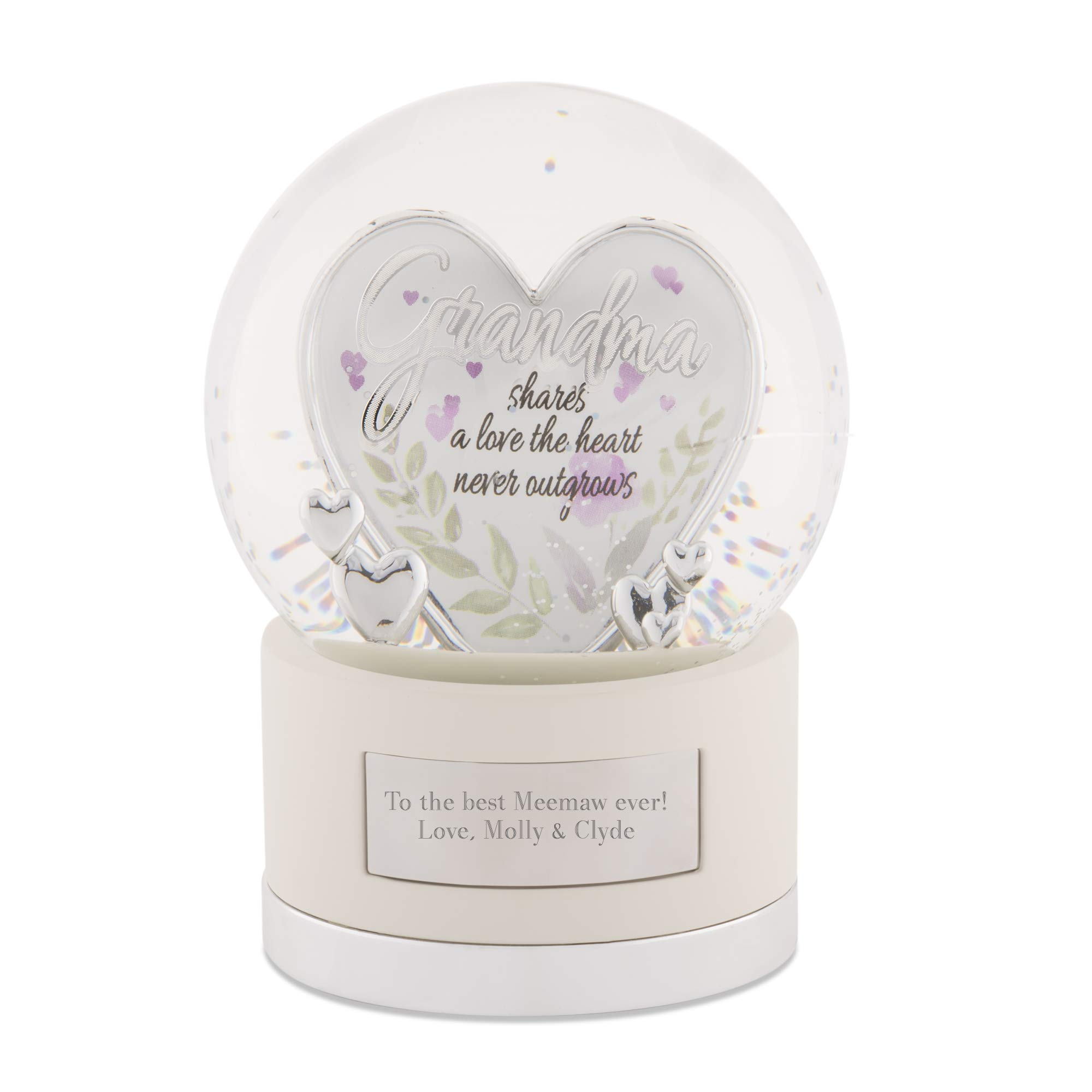Things Remembered Personalized Silver Grandma Heart Snow Globe with Engraving Included by Things Remembered (Image #1)