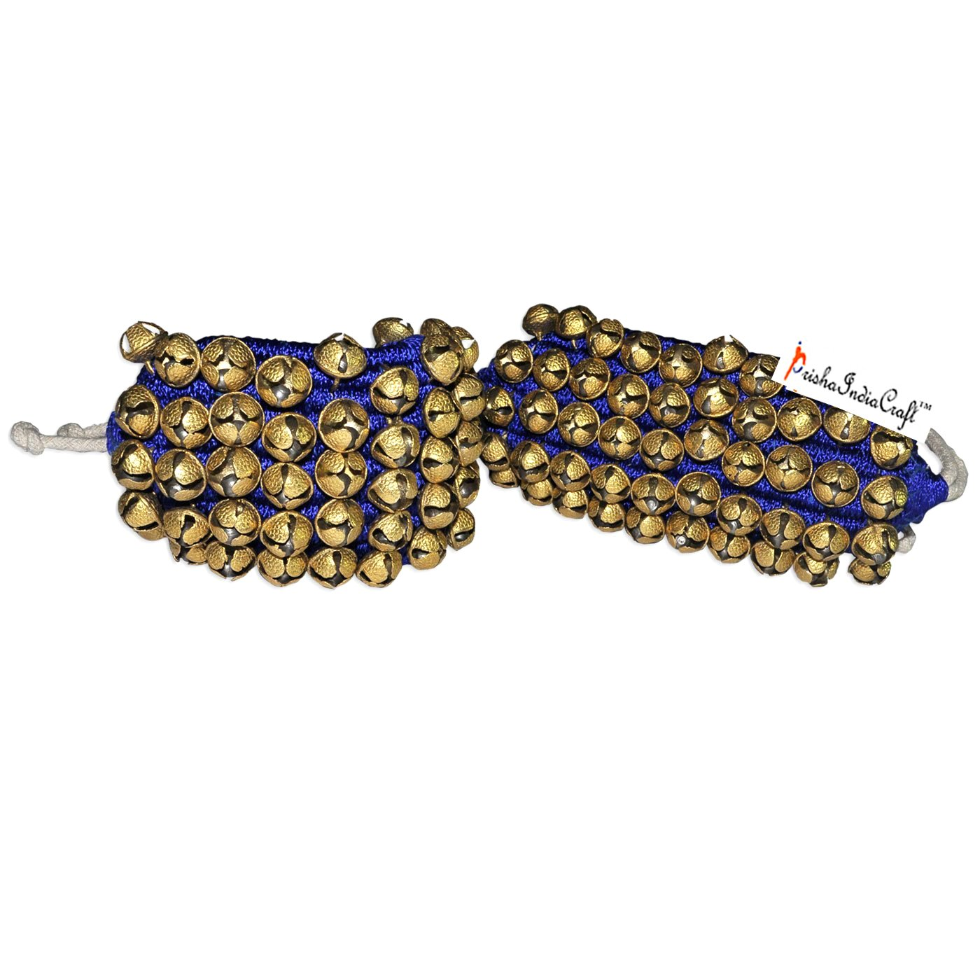 Prisha India Craft Kathak (5) Five Line Big Bells (16 No. Ghungroo) Good Quality Ghungroo Blue Pad Indian Classical Dancers Anklet Musical Instrument Bharatnatyam, Kuchipudi, Odissi Ghungru by Prisha India Craft