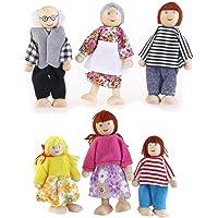OULII 6pcs muñeca familia madera conjunto títere Maumet