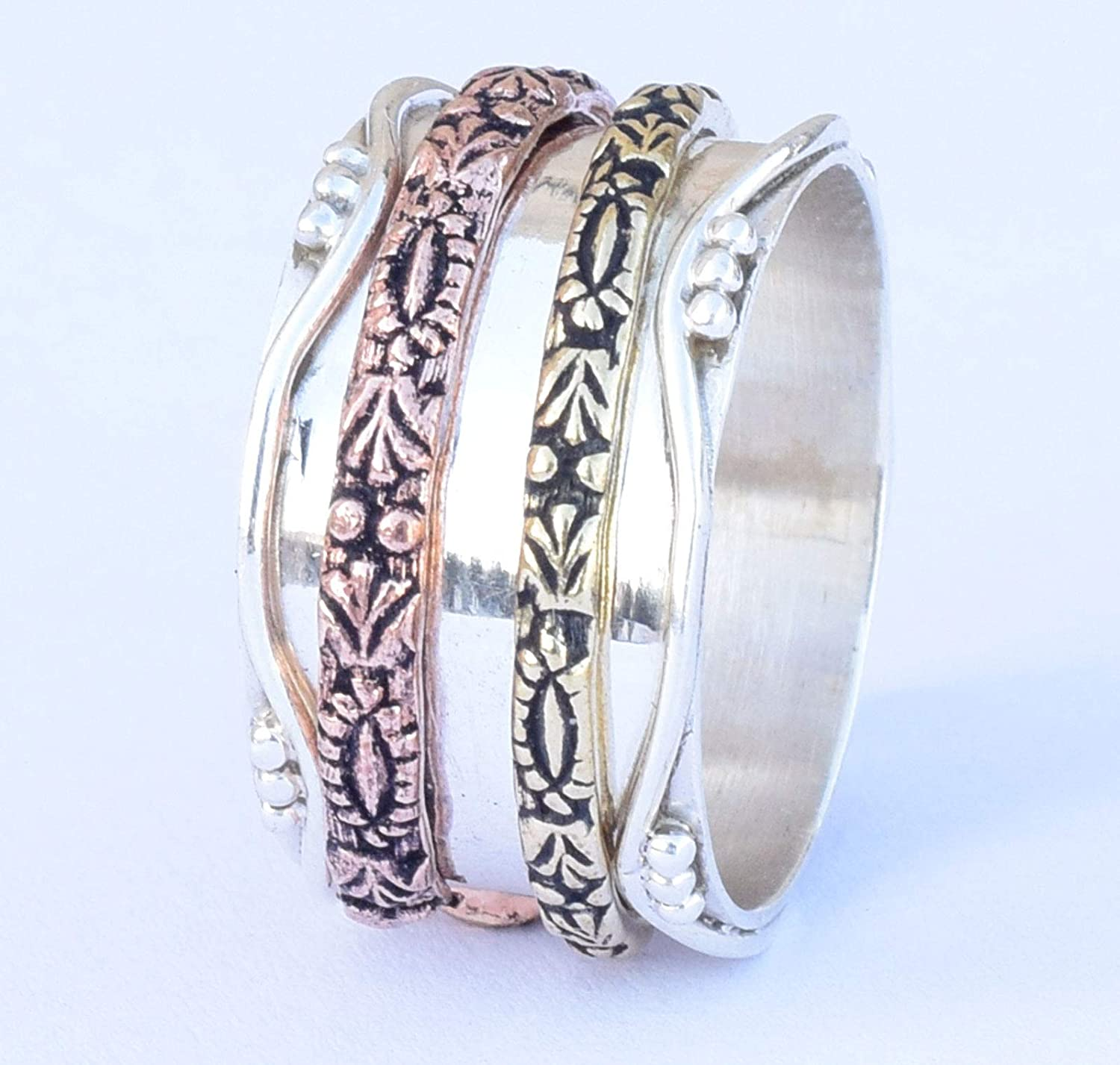 Amazon.com: Spin Spinner Ring, Yoga meditation Ring Two Tone ...