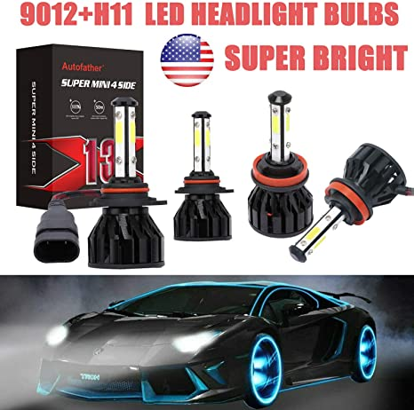 HB5 9007 4-Sides LED Headlights kit High//Low 6000K for Nissan Frontier 2005-2018