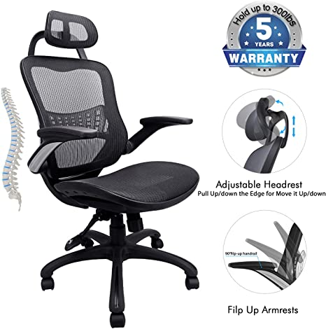 Amazon.com: Silla de oficina ergonómica, soporte de peso de ...
