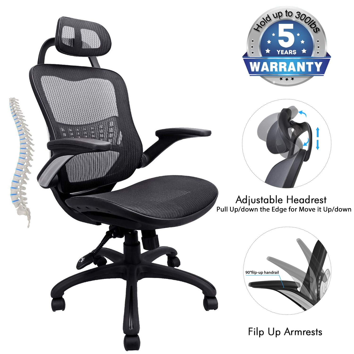 Ergonomic Office Chair, 5 Years Warrenty Weight Support 300Ibs,High Back Mesh Office Chairs with Adjustable Headrest,Backrest and Flip-up Armrests,Executive Office Chair for Height Under 6' by Ergousit