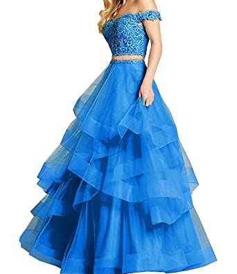 5e31834900 Alanre Women s Ruffle Tulle Beads Lace Prom Quinceanera Dress Two Pieces  Party Ball Gown Blue 2