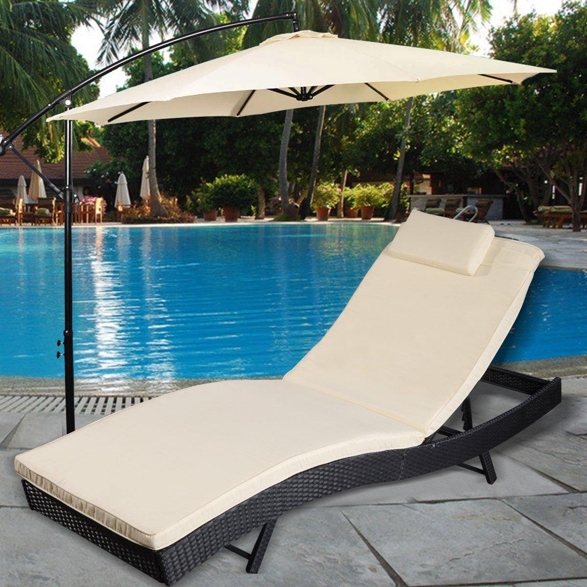 Polyratten Gartenliege Sonnenliege Relaxliege Gartenstuhl Liegestuhl inkl. Auflage und Kopfkissen Ratten Lounge Liege Garnitur Gartenmöbel Outdoor