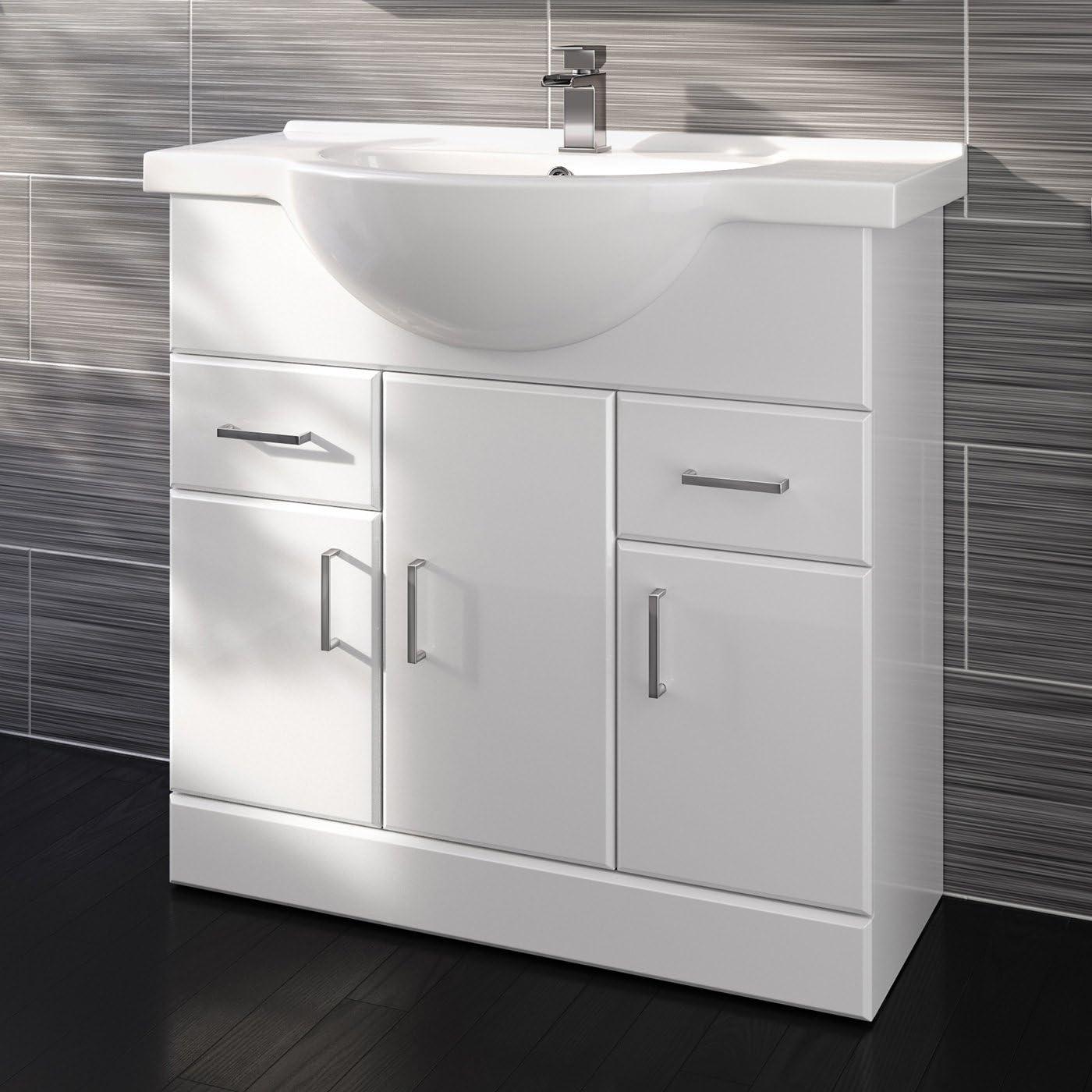 850mm White Gloss Basin Vanity Cabinet Bathroom Storage Furniture Sink Unit