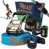 Trailblaze Premium Slackline Kit with Tree Protectors Ratchet Cover + Carry Bag - Easy Setup 50 ft Slacklines for Outdoor Healthy Fun - Slack Line Kit Ideal for Kids, Adults, Boys or Girls