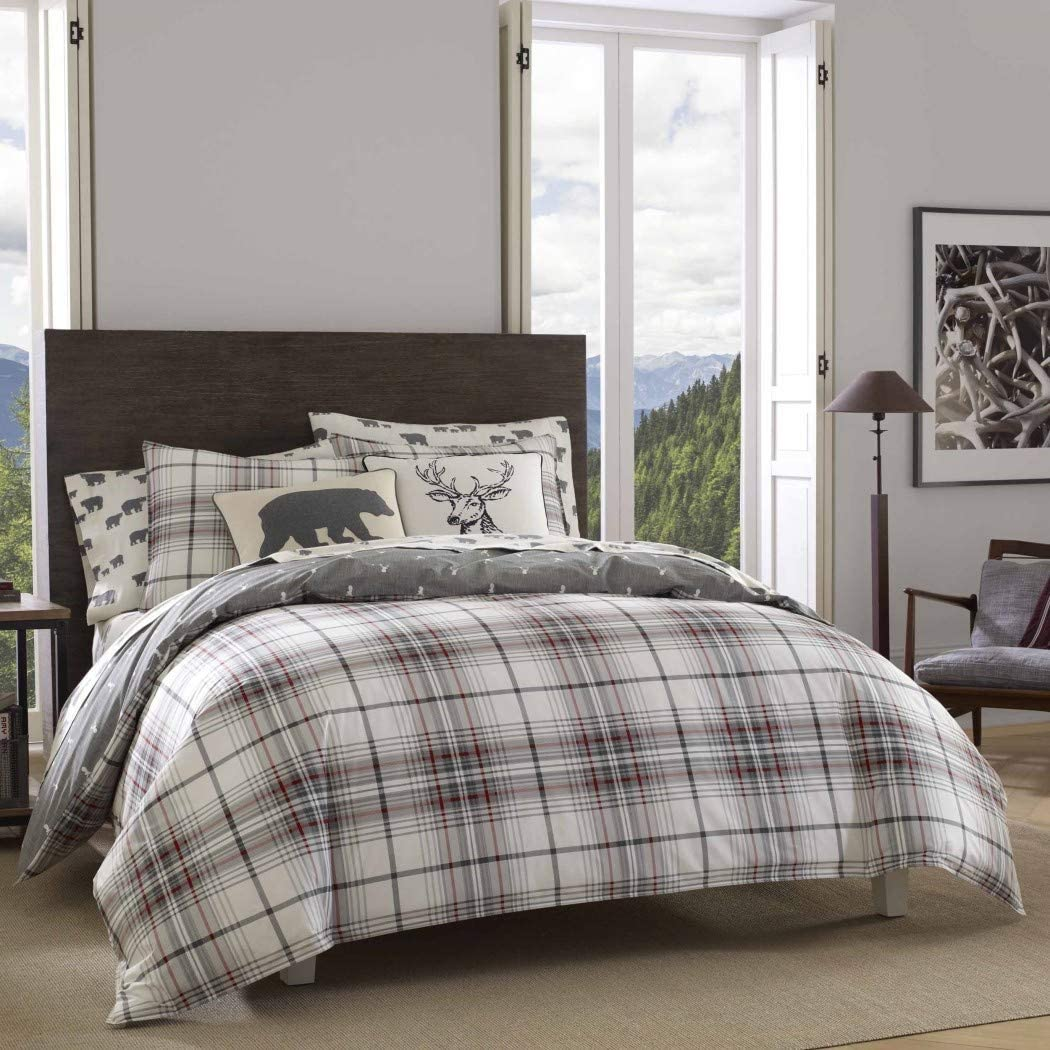 un 3 Piece Grey Red White Plaid Duvet Cover Full Queen Set, Tartan Bedding Checked Buffalo Check Classic Madras Cabin Lodge Lumberjack Hunting, Reversible Deer Pattern Cotton