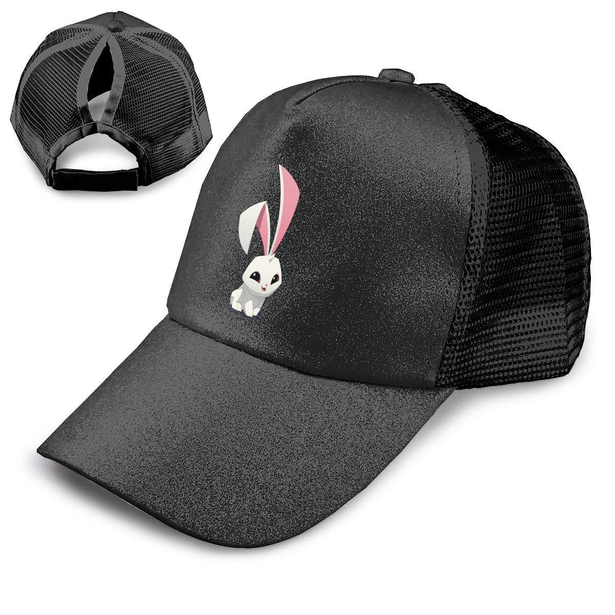Bunny Ponytail Messy High Bun Hat Ponycaps Baseball Cap Adjustable Trucker Cap Mesh Cap