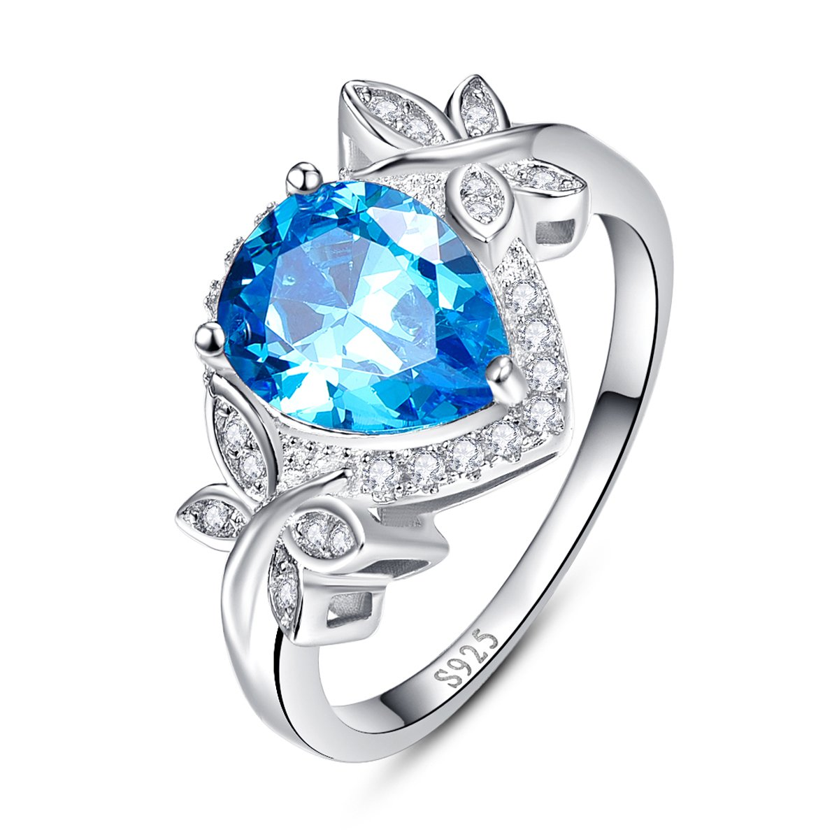 BONLAVIE 3.85ct Pear Cut Created Swiss Blue Topaz & CZ Halo Promise Engagement Ring 925 Sterling Silver 031R13