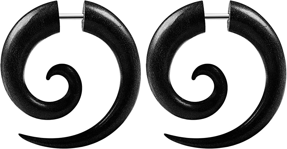 Guages or Gages Gauges for Ears with Organic Wood Earth Accessories Spiral Taper Earrings Ear Stretching Kit with Size 0G // 0 Gauges Set of Plugs Sold as Pair and Others