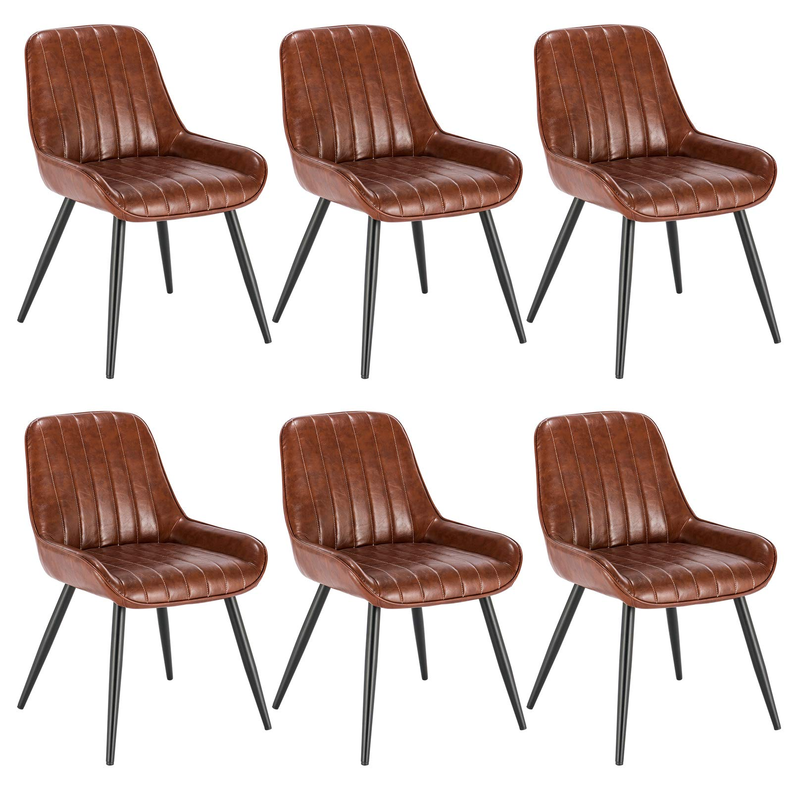 Lestarain Dining Chairs Set of 6 Vintage Kitchen Counter Chairs Lounge Leisure Living Room Corner Chairs With Metal Legs PU Leather Seat and Backrests,Brown