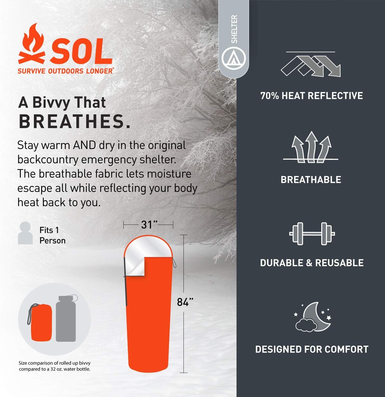 S.O.L Orange Survive Outdoors Longer S.O.L 70/% Reflective Escape Bivvy