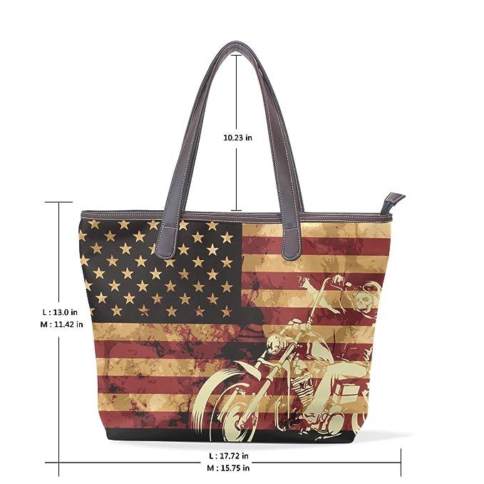 Vintage American Flag With Skull Womens Fashion Large Tote Ladies Handbag Shoulder Bag