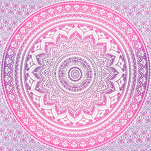 """Tapestry Exclusive Branded Ombre Tapestry By """"CRAFT N CRAFT INDIA"""", Indian Mandala Wall Art, Hippie Wall Hanging, Bohemian Bedspread"""