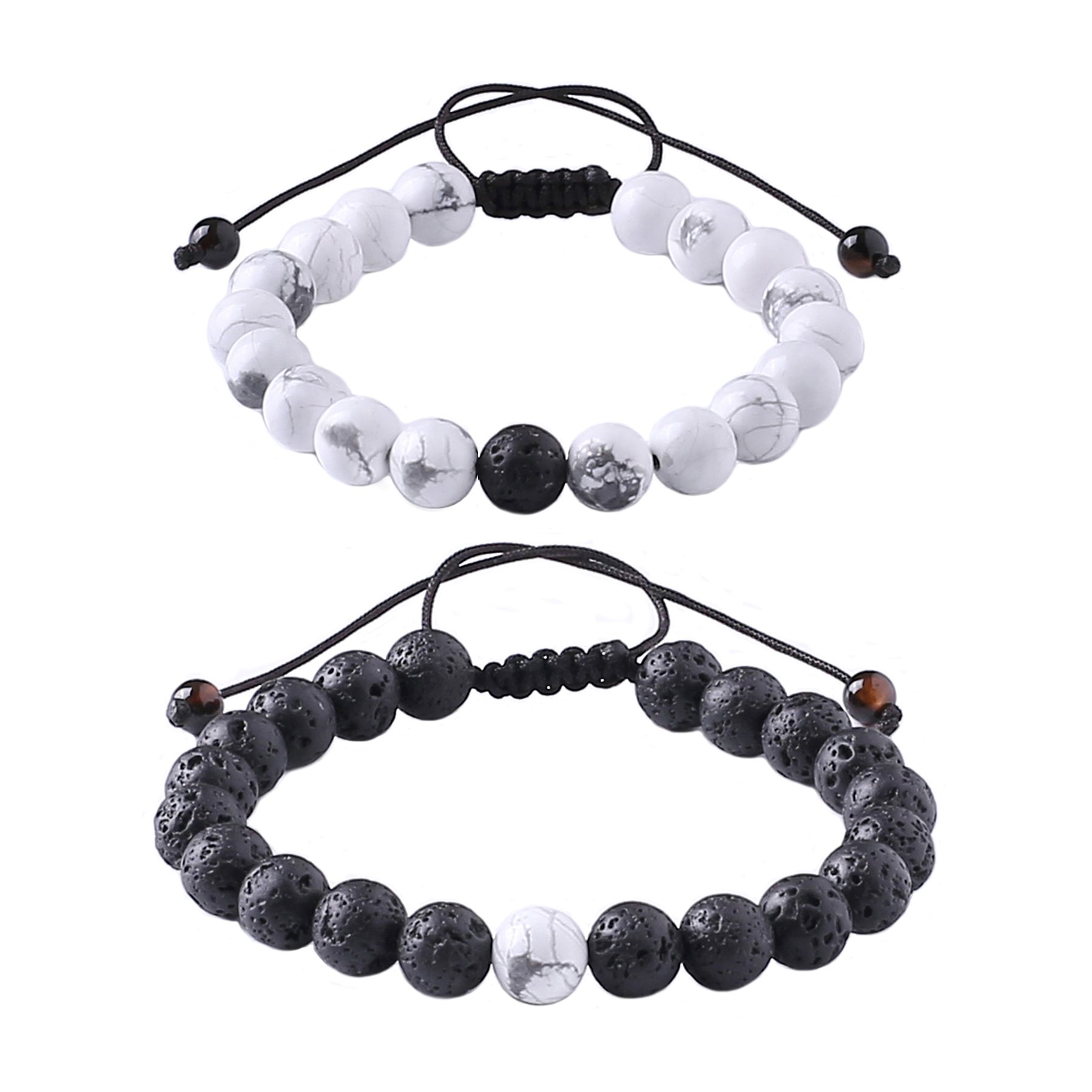 MAOCEN Distance Relationship Bracelet for Lover-2pcs Black Lava Rock & White Howlite Stone 8mm Beads (Braided) by MAOCEN
